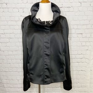 St. John Caviar Black Funnel Neck Jacket Size XL